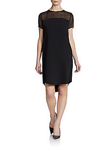 Calvin Klein Short-Sleeve Illusion Shift Dress