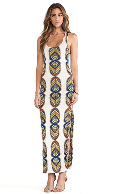 T-Bags LosAngeles Racer Back Maxi Dress w/ Slits in Tan