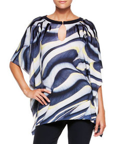 Escada Printed Wool-Silk Tunic Top, Multi