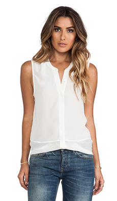 Joie Savory Silk Lourden Sleeveless Blouse in White