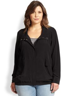 Eileen Fisher, Sizes 14-24 Silk Stand-Collar Jacket