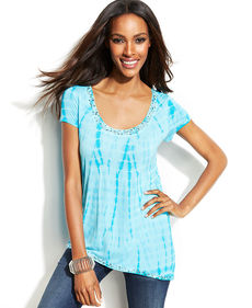 INC International Concepts Tie-Dye Embellished Asymmetrical Top
