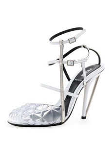 Molded PVC Leather Sandal, White   Molded PVC Leather Sandal, White