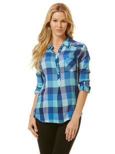 textured plaid henley