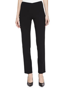 Michael Kors Double-Faced Cropped Wool Pants, Black