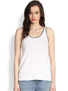 Eileen Fisher Scoopneck Tipped Linen Tank