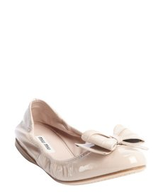 Miu Miu powder leather bow detail ballet flats