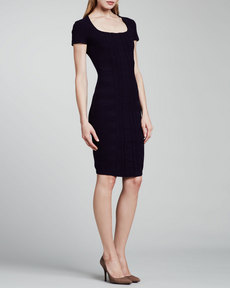 Escada Cap-Sleeve Scuba Knit Dress, Dark Blue