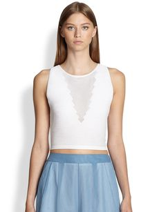 3.1 Phillip Lim Mesh-Paneled Ribbed Cropped Tank