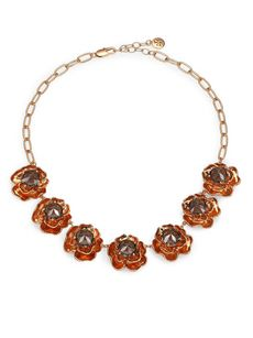Tory Burch Crystal-Detailed Rosebud Necklace