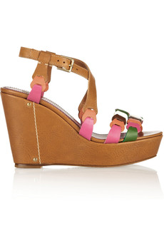 M Missoni Leather wedge sandals