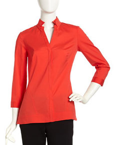 Lafayette 148 New York Stretch-Knit Long-Sleeve Blouse, Rosehip