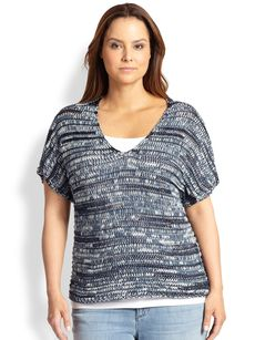 Eileen Fisher, Sizes 14-24 Short-Sleeve V-Neck Knit Top