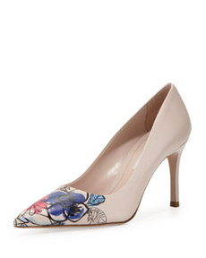 Floral Point-Toe Leather Pump, Nude   Floral Point-Toe Leather Pump, Nude