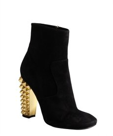 Fendi black suede studded heel side zip ankle boots