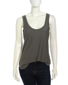 James Perse Ribbed Slub-Knit Tank Top, Alligator