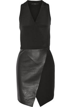 Tibi Silk, ponte and leather dress