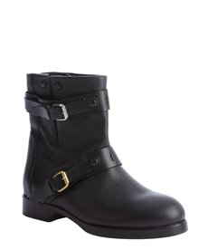 Chloe black leather side buckle moto boots