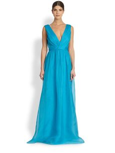 Badgley Mischka Sleeveless Silk-Organza Gown