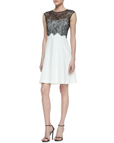 Kay Unger New York Lace Bodice Overlay Cocktail Dress, Black/White
