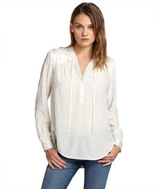 Rebecca Taylor marshmallow semi-sheer silk long sleeves tie neck eyelet blouse
