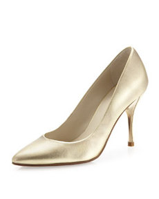 Donald J Pliner Brave Metallic Leather Pointed Toe Pump, Platinum