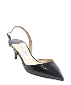 Jimmy Choo black leather pointed toe sling backs