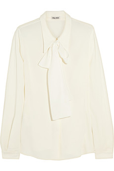 Miu Miu Crepe and silk pussy-bow blouse