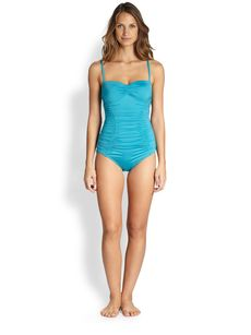 Badgley Mischka One-Piece Shirred Bandeau Swimsuit