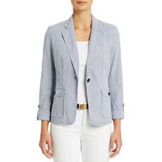 One-Button Roll Sleeve Jacket (Petite)