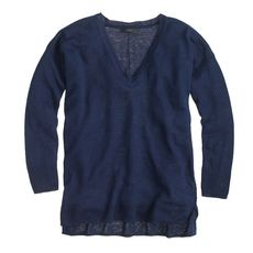 Linen V-neck sweater in yarn dye