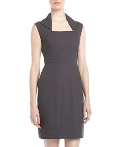 Marc New York by Andrew Marc Folded Neckline Sheath Dress, Charcoal