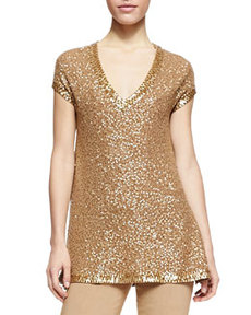 Sequined Cashmere Cap-Sleeve Tunic   Sequined Cashmere Cap-Sleeve Tunic