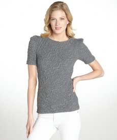 Three Dots pucker charcoal grey puff sleeve blouse