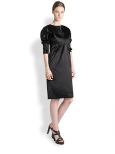 Jil Sander Crystal-Embellished Silk Satin Dress