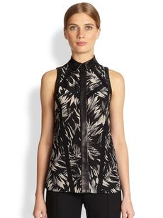 Jason Wu Leather-Trimmed Botanical Print Silk Top