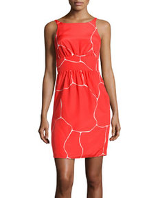 Susana Monaco Sleeveless Shift Ripple-Print Sateen Dress, Spark