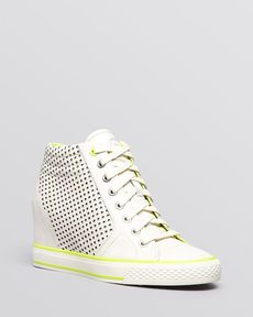 DKNY Lace Up High Top Wedge Sneakers - Cindy