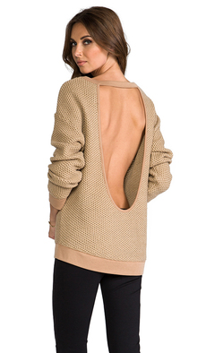 Sanctuary Cut Back Sweater in Brown
