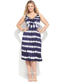 INC International Concepts Plus Size Ruffled Tie-Dye Sleeveless Dress