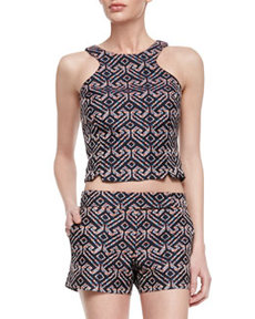 Trina Turk Vixen Printed Sleeveless Cut-In Crop Top