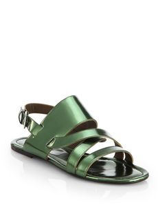 Marni Metallic Leather Multi-Strap Sandals