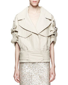 Jason Wu Cropped Cotton-Stretch Utility Trench Jacket, Beige