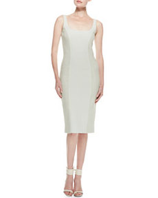 Tweed & Crepe Sheath Dress, Pale Sage   Tweed & Crepe Sheath Dress, Pale Sage