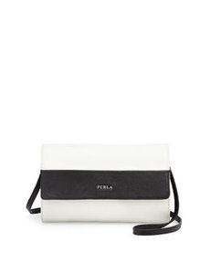 Furla Lucy Colorblock Leather Pochette, White/Onyx