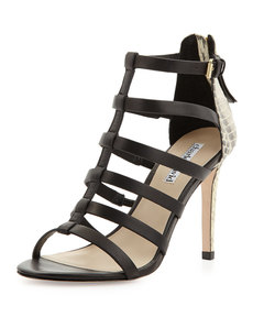Charles David Idealize Snakeskin Strappy Sandal, Black