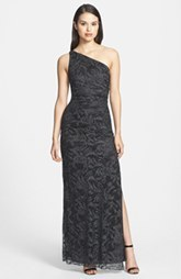 Laundry by Shelli Segal Metallic One-Shoulder Lace Gown