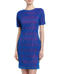 Marc New York by Andrew Marc Two-Tone Lace Crepe Sheath Dress, Blue Jay
