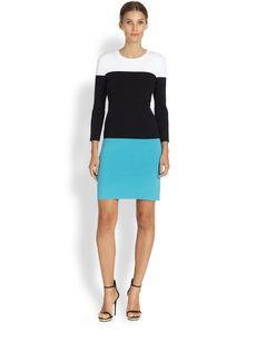 Michael Kors Merino Wool Colorblock Dress