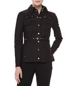 Michael Kors Broadcloth Utility Jacket, Black